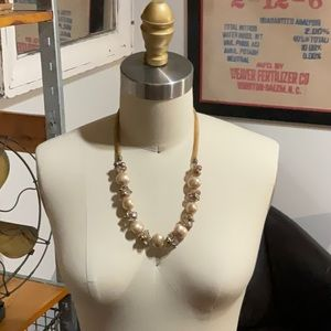 """Crystal, Ribbon and Bead 21"""" Necklace"""